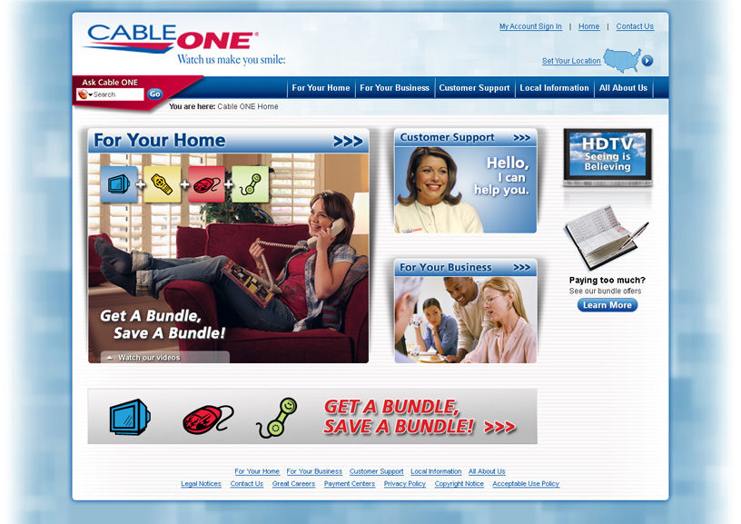 Cableone.com Homepage