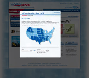 Cableone.com Set Your Location page