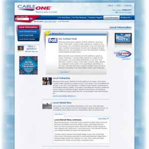 Cableone.com Local Information landing page