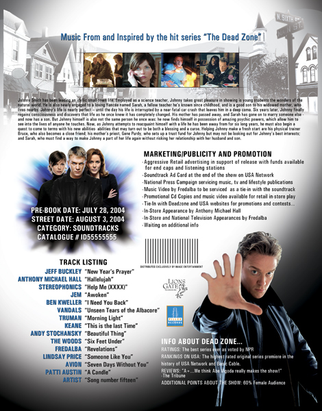 Dead Zone Digipak Onesheet design (back side)