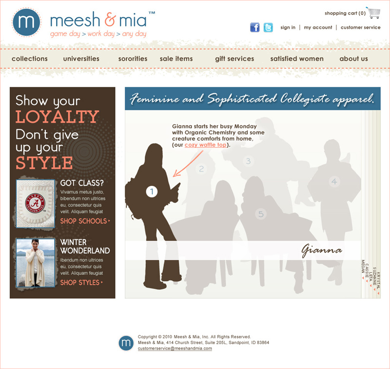 Proposed Homepage for Meesh & Mia redesign