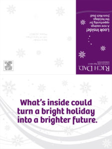 Rich Dad holiday mailer design (outside, opened)