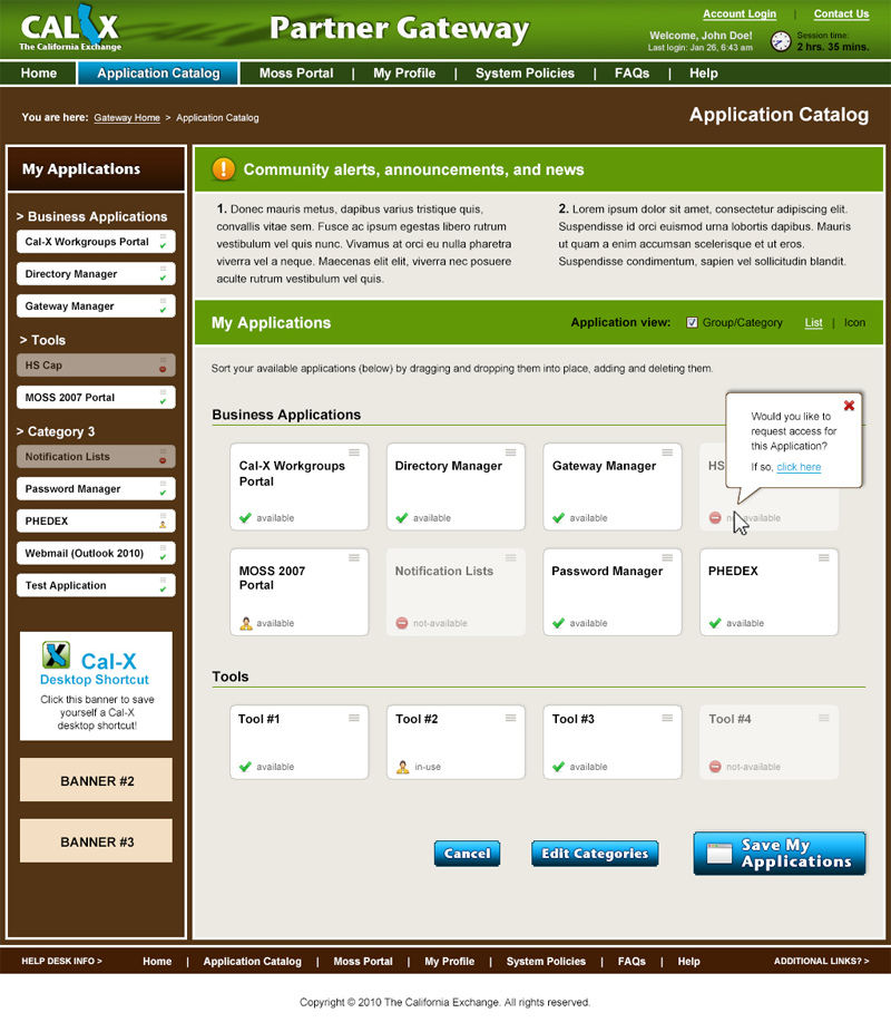 Cal-X Gateway Web Application (Application Catalog) design