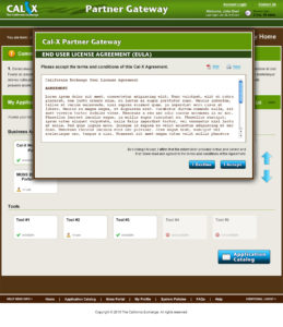 Cal-X Gateway Web Application (EULA) design