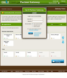 Cal-X Gateway Web Application (Login Screen) design