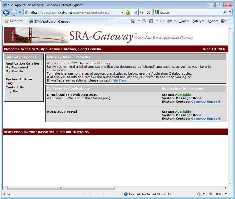 Cal-X Gateway Web Application (original)
