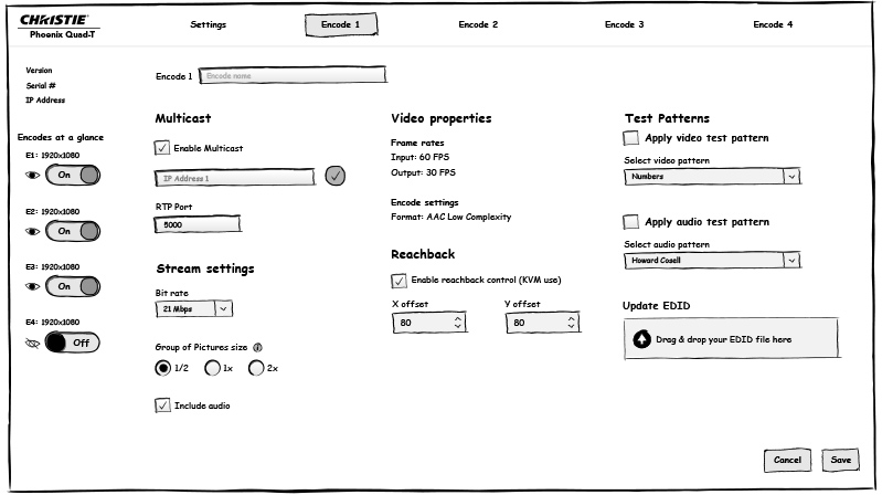 Christie Phoenix Quad-T Web Application Wireframes