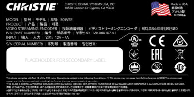 Christie Phoenix Quad-T UL Label design