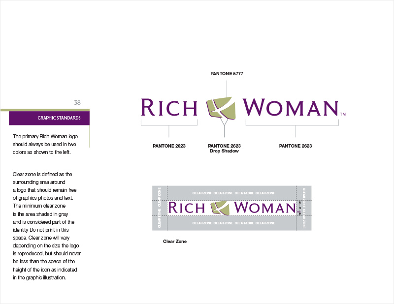 Rich Dad Brand Standards Manual redesign - Rich Woman Logo Usage section