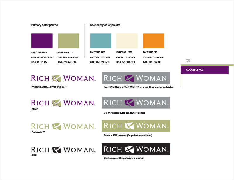 Rich Dad Brand Standards Manual redesign - Rich Woman Color Usage section