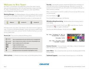 Brio Team+ Quick Start Guide (back)