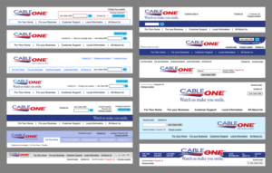 Cableone.com Header Wireframes (concepts)