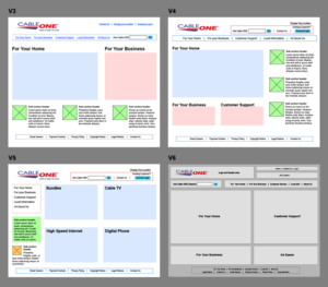 Homepage Wireframe iterations for Cableone.com redesign